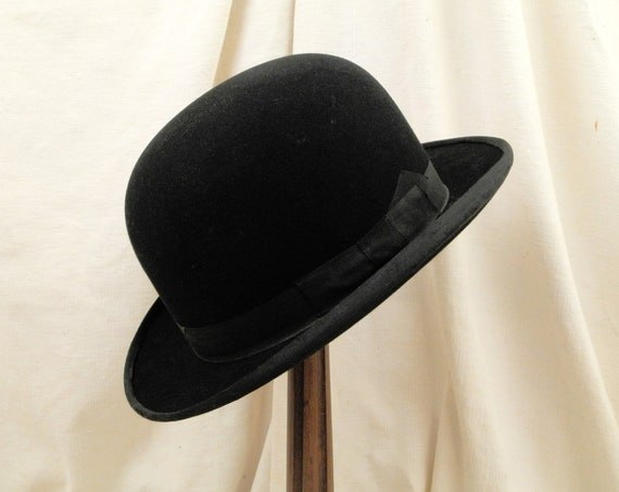 Antique French Black Woolen Felt Bowler Hat made by Codet from Le Havre, Original Head Wear from France, Vintage Brocante Steampunk Clothing
