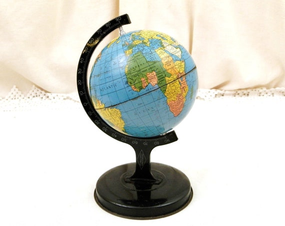 Vintage 1950s Desktop Metal Globe Made in England, Retro English 50s Office Decor, Geography Gift for Traveler, Small Rotating Planet Earth