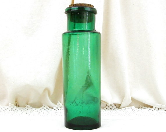 Antique French Tall Thin Green Glass Apothecary Jar and Cork Stopper, Chemist's Storage Slim Container from France, Retro Shop Display Piece