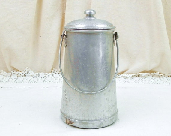 Antique French White Metal Milk Pail with Lid and Handle, Retro Vintage Country Cottage Dairy Churn, Farmhouse Kitchen Decor from France