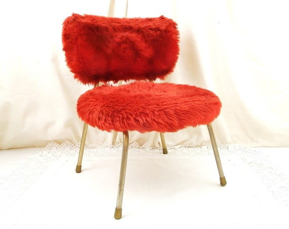 Red Vintage Mid Century 1960s Child's Shaggy Fur Pelfran Chair, Retro 60s Bright Furry Peltex Kids Seating, Original 1970s Small Furniture