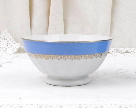 Antique Blue and White with Gold Gilt Frieze Farmhouse Ceramic Scalloped Sided Coffee Bowl from France, French Gilbert Latte Café Bowl