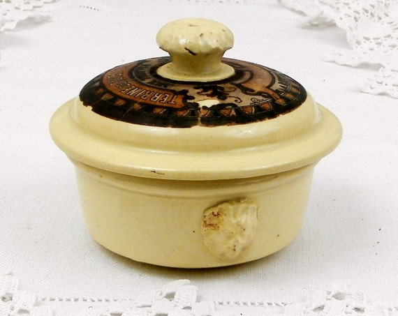 "Small Antique ""Terrine de Foies Gras aux Truffes"" Truffles Lidded Pot with Original Paper Label by Sarrguemines from France, French Country"