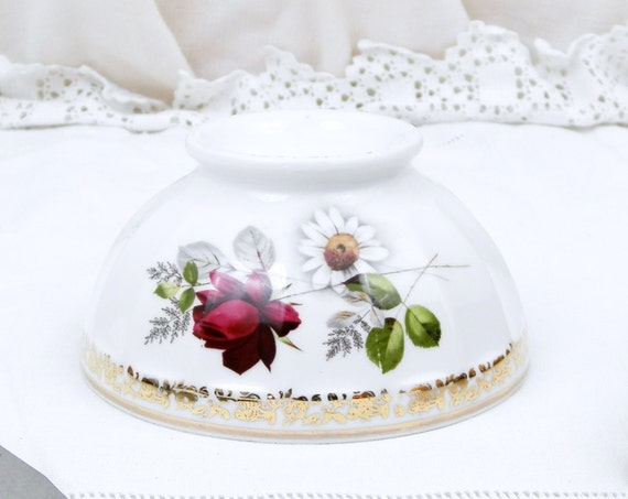 Vintage 1950s French White Bone China Limoges with Gold Gilt and Rose Bud Pattern Cafe au Lait Bowl, Latte Coffee Bowl Country Shabby Chic
