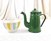 Small French Vintage Green Enamelware Goose Neck Coffee Pot, Retro Enamel Kitchen Decor From France, Brocante Country Farmhouse