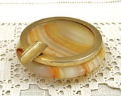Small Vintage 1970s Veined Onyx Marble Stone Ashtray with Gold Colored Metal Rim and Rest from France , Retro French Smoking Accessory
