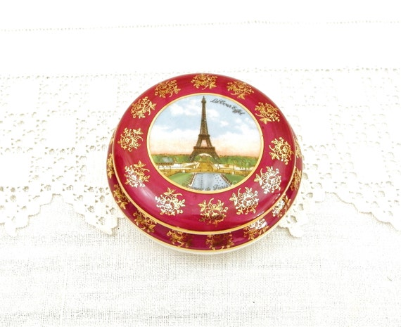 Vintage French Fine Porcelain from Limoges Bonbonniere / Candy Pot with an Image of the Eiffel Tower and Gold Pattern on Maroon Glaze France