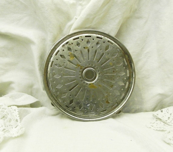Antique French Round Metal Trivet / Hot Plate / Heat Mat, Country Cottage Kitchenware, Shabby Chateau Chic Decor France, Brocante Fleamarket