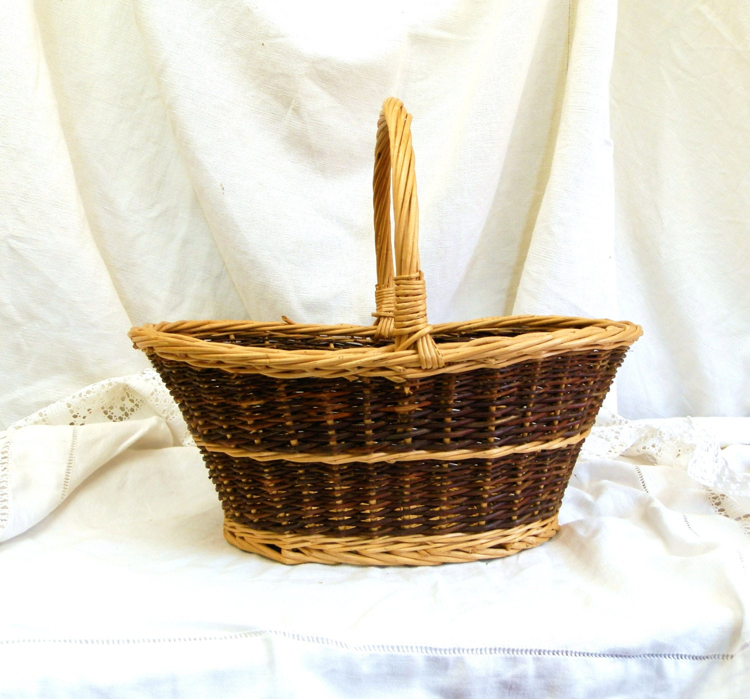 Small Vintage French Woven Wicker Willow Rustic Basket Primitive Country Cottage Farmhouse Decor 2 Tone Colored Picnic Wooden Basket