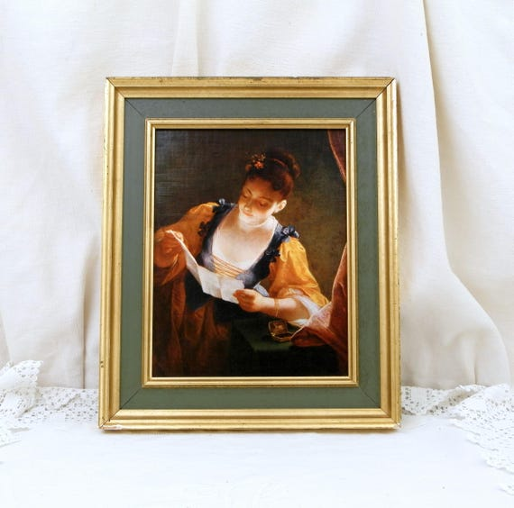 "Vintage Framed Les Editions Braun from Paris Reproduction / Copy of ""Young Woman Reading a Letter"" by Jean Raoux Hangs in The Louvre Museum"