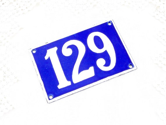 Vintage Traditional French Enamel House Number Plate Number 129 in Blue with White Colored Numbers, Porcelain Street Sign from France