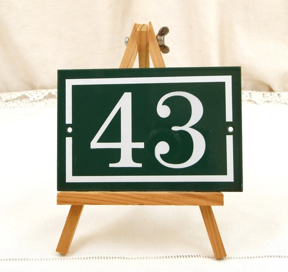 Vintage Authentic French Green and White Metal House Number Plaque 43, Retro Porcelain Street Enameled Address Sign Forty Three from France