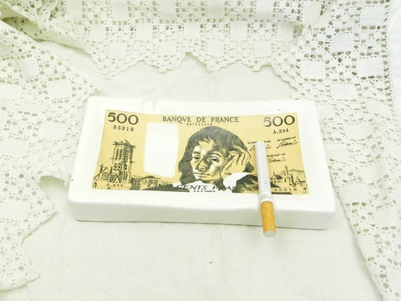 Vintage French Ceramic Ashtray Shaped as a Five Hundred Francs Bank Note China Ashtray, Retro Smoking Numismatics Collectible, Quirky France