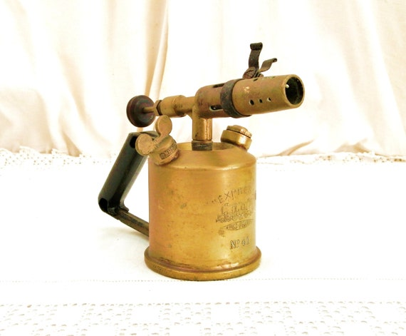 Antique French Brass Metal Blow Torch for Soldering L'Express Number 41 from Paris, Retro Vintage Welding Industrial Home Decor from France