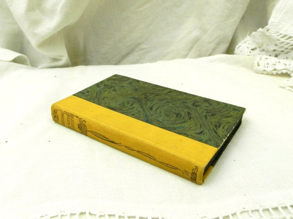 Antique French  Marbled Paper Bound Book, Le Noeud Gordien by Charles de Bernard French Shabby Chic Country Decor, Brocante From France