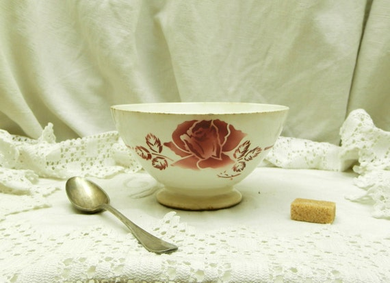 Antique French Farmhouse Ceramic Digoin Café au Lait Bowl, French Country Cottage Coffee Bowl, Shabby Chateau Chic Kitchenware Decor