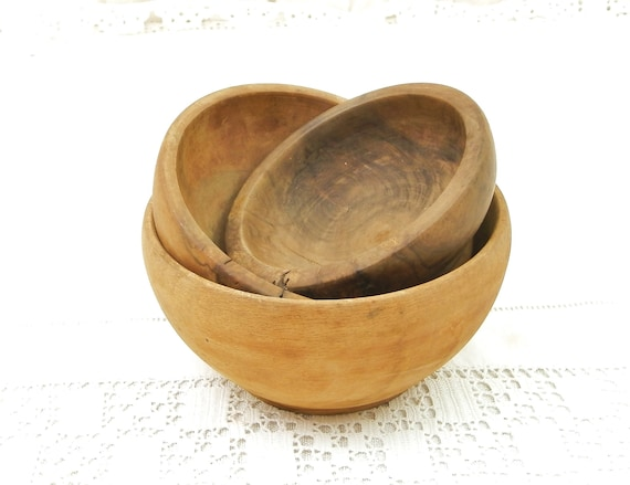 Antique Nest of 3 Different Wooden Bowls, Oak Walnut and Fruit Wood Turned Wood Vessels, French Country Farmhouse Cottage Rustic Decor