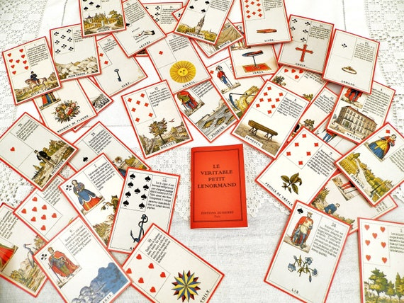 Rare Vintage Reproduction Deck of Fortune Telling Astro Mythological Cards by Mlle Lenormand with Instruction Booklet in French, Numerology