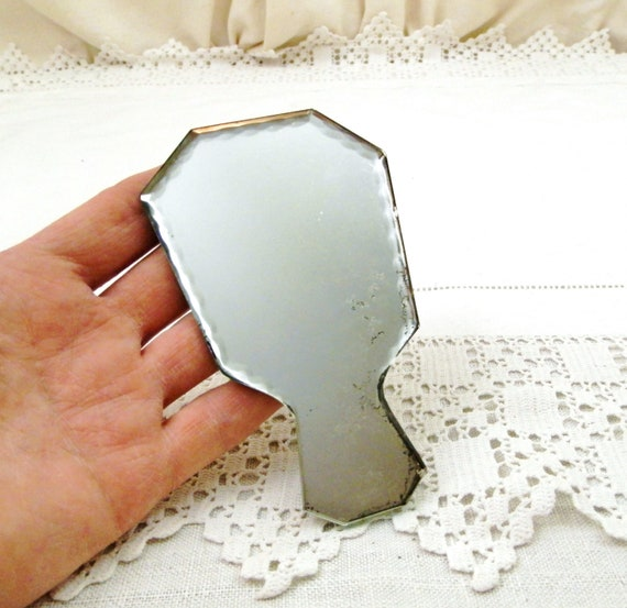Small Vintage French Beveled Edged Glass Hand Held Make Up Mirror, Retro Beauty Vanity Accessory from France, Child Toy Dressing Up Play