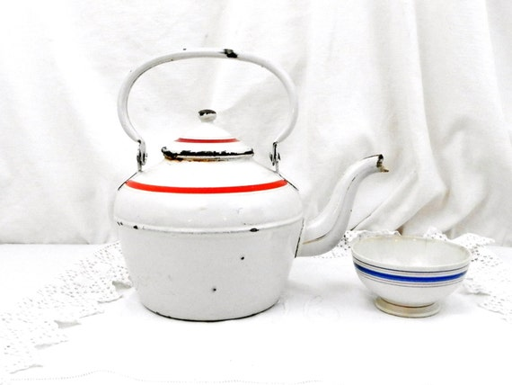 Rare Antique French Chippy Goose Neck Enamelware White and Red Kettle, Rustic Vintage Country Shabby Cottage Enamel Kitchenware Decor France