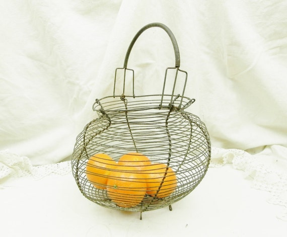 Antique French Wire Ware Egg Basket, Woven Metal Salad Garden Carrier / Strainer, Retro Vintage Rustic Country Cottage Decor from France