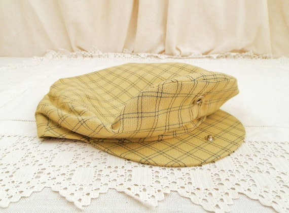 Vintage French Unused Woolen Cloth Flat Cap with Green Pale Yellow Checkered Pattern, Retro Wool Hat from France, Rural Rustic Head Ware