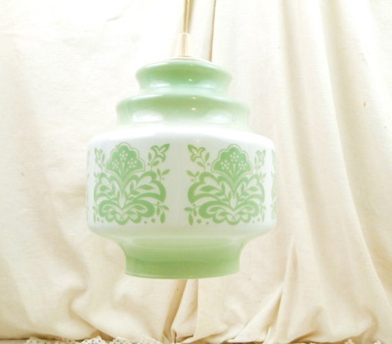 Vintage 1960s Mid Century French White Opaline Light Shade with Pattern in Mint Green, Retro 60s Opaque Glass Pendant Lighting from France