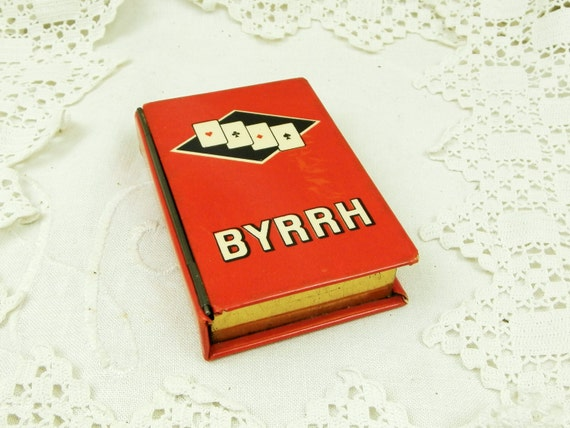 Vintage Promotional Playing Card Metal Tin by French Aperitif Drinks Company Byrrh, Retro Advertising Red Box for Pack of Cards from France