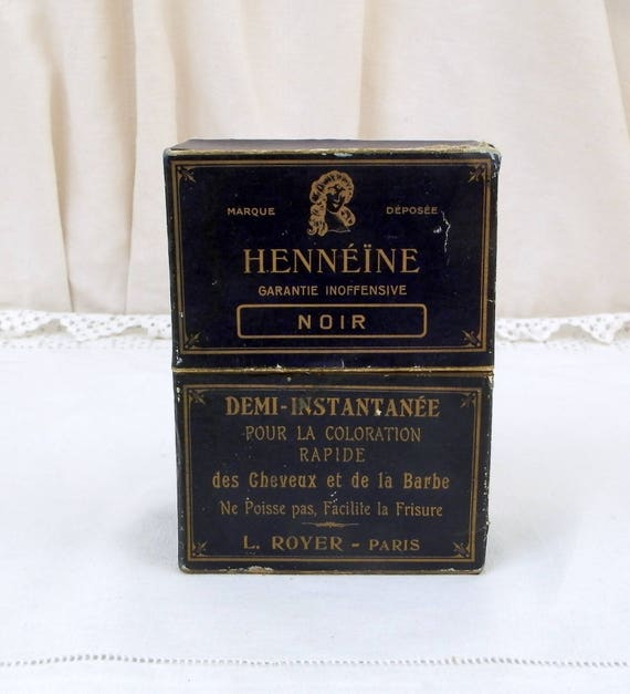 "Antique French Box Originally Contained Hair and Beard Black Dye ""Hennéine"" by L.Royer Paris, Vintage Hair Styling From France, Collectible"