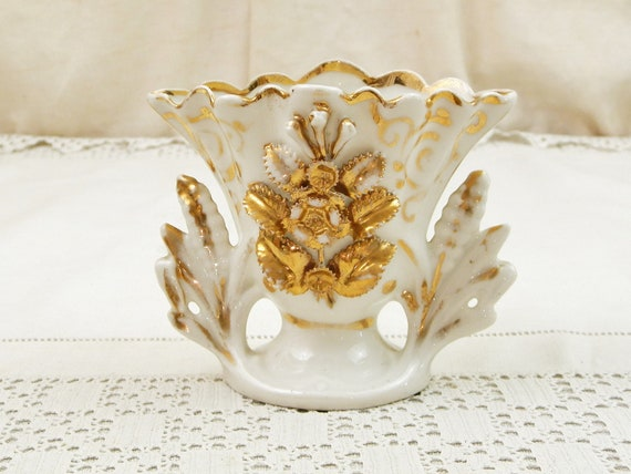 Antique French Fine Porcelain White and Gold Wedding Vase, Retro Victorian Bone China Table Ornament from France with Gilded Decoration