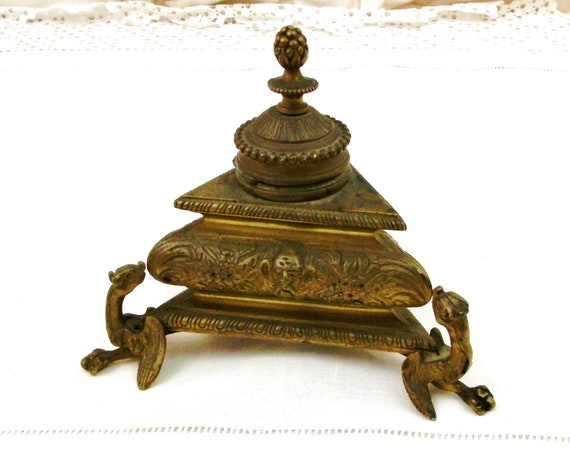 Antique French Empire Period Bronze Inkwell, Early 1800s Desk Ornament Metal Writing Equipment from France, Napoleon Style Office Decor