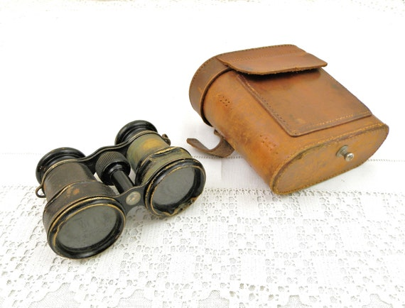Small Working Antique French WW1 Linx Binoculars and Compass with Leather Carrying Case, Field Glasses from France, Military Collectible