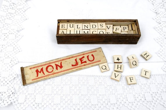 """Antique French Wooden Boxed Set of 77 Wooden Letters Game """"Mon Jeu"""", Vintage Play Toy from France, Retro Home Interior, Scrabble Words Game"""