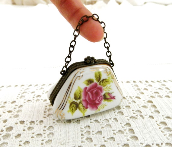 Small Vintage French Pill Box Shaped as a Handbag made of White Porcelain with Pink Rose Pattern Metal Clasp and Chain, Fine China France