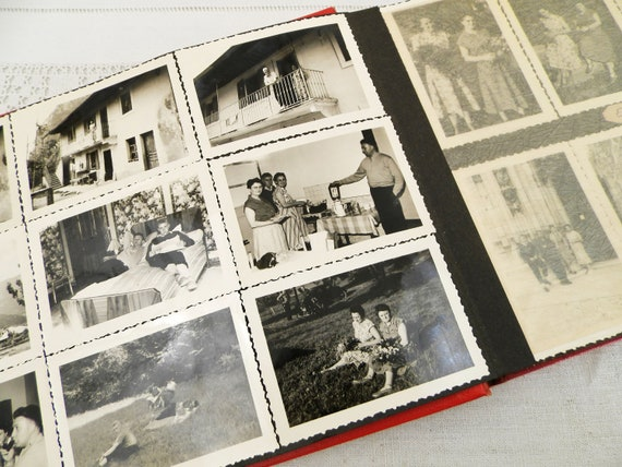Vintage French 1955 Family Vacation Photo Album from the Alps Cote D'azur Monaco and Nice, Retro Photograph Book with 32 pages from France