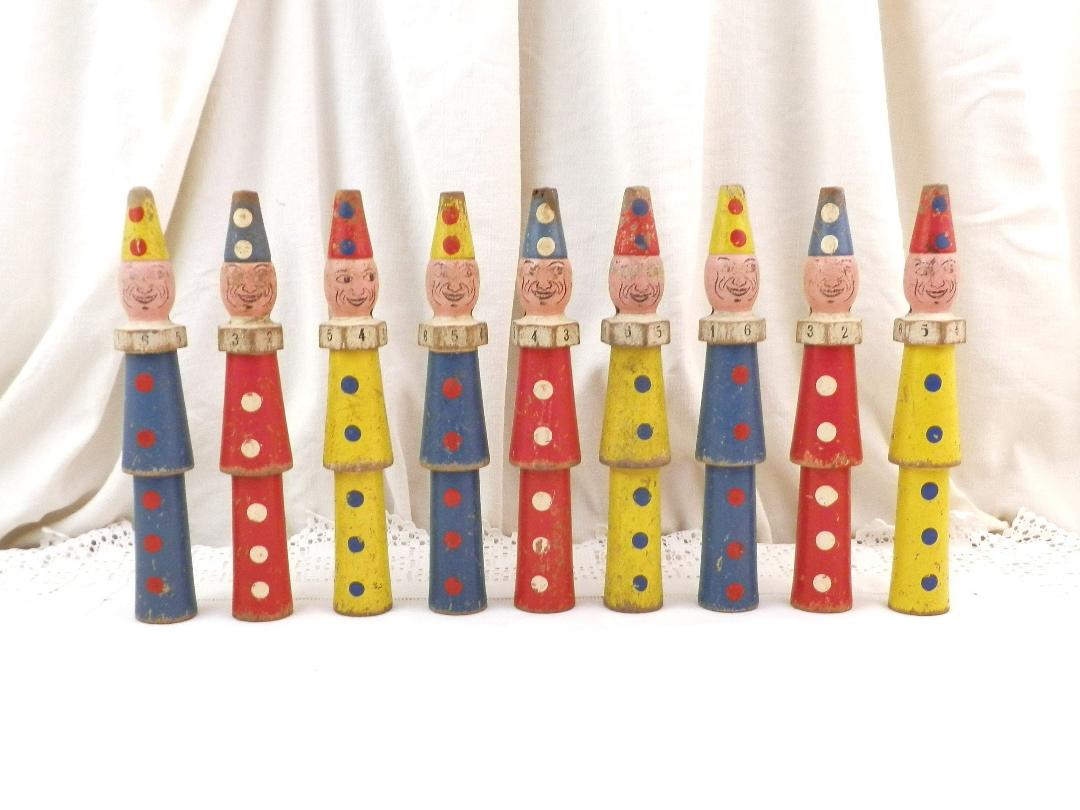 French wooden Skittles Vintage wooden painted Skittles