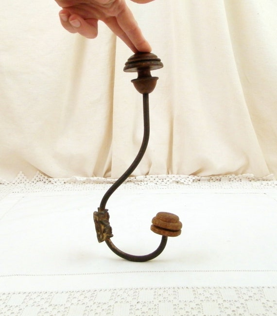 Large Antique 19th Century French Metal and Wood Hat and Coat Hook, Retro Vintage Farmhouse Country Brocante Home Decor from France
