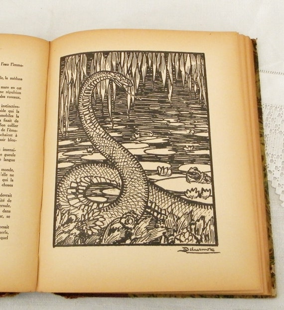 Antique French Hardback Novel Histoires de Betes by Louis Pergaud with Illustration by H Deluermoz  printed in 1949 with Marble Paper Cover