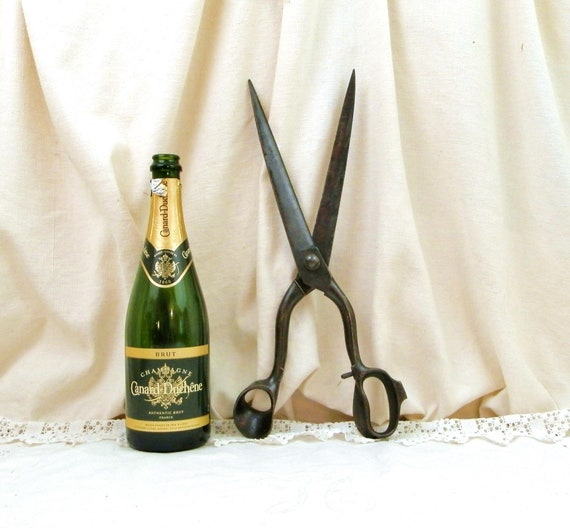 Antique Big Industrial Sized Drappers Scissors from France, Huge Enormous French Tailors Cutting Shears, Large Metal Scissors, Shop Display