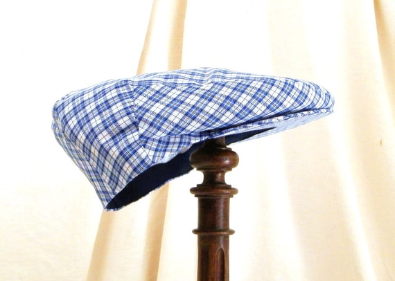 Vintage French Unused Cotton Blue and White Chequered Pattern Sport Flat Cap Size 58, Retro Gavroche Hat France, Country Headwear