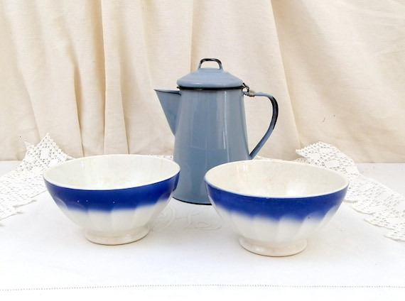 2 Antique Large Blue and White Coffee Bowls with Scalloped Sides from France, French Farmhouse Ceramic Café au Lait Bowl, Country Latte Bowl