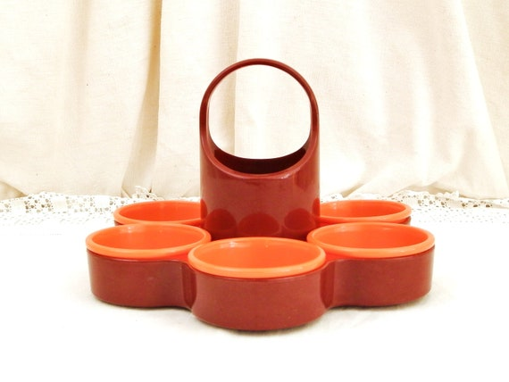 Vintage Mid Century 1960s Revolving Bright Orange and Brown Melamine Nibbles Dish for Dinner Parties by Emsa West German, Retro Serving Bowl