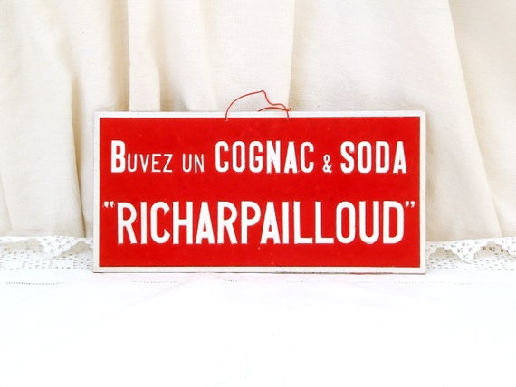 Vintage 1940s Red Cognac Advertising Sign from France Buyez un Cognac et Soda Richarpailloud made of Velveteen on Board, French Publicity