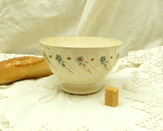 Antique Belgian Farmhouse Ceramic Café au Lait Bowl, Pottery Coffee Bowl from Europe, French Country Kitchenalia Decor, Shabby Cottage