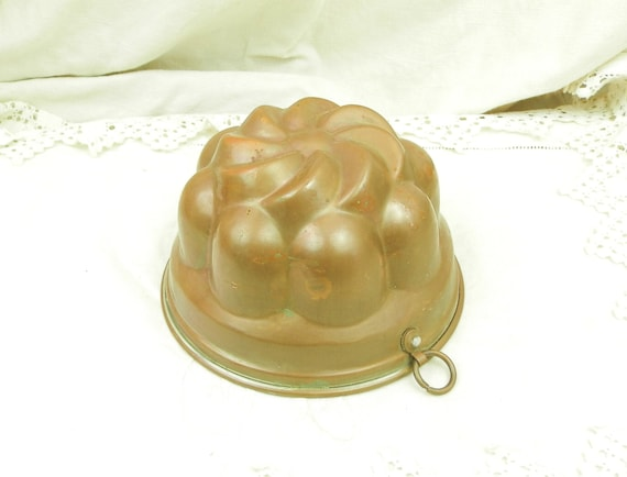 Antique French Copper Metal Charlotte Cake Mold, Jello Mold from France, Country Shabby Chateau Chic Kitchen Decor, Brocante Cookware