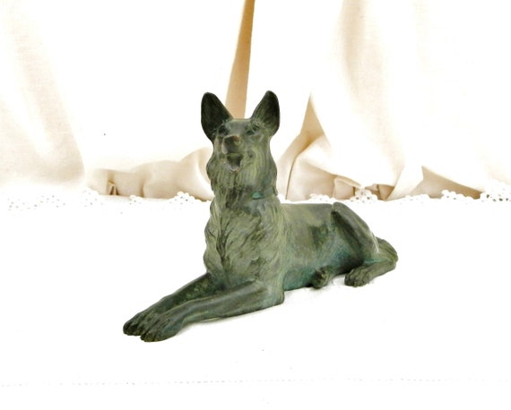 Antique French Cast Bronze German Shepard Dog Breed Statue, Alsatian Vert de Gris Metal Sculpture from France, Collectible Objects Art Piece