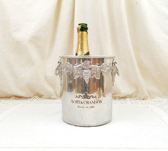 Vintage French Moet et Chandon Champagne Ice Bucket with 2 Side Handles, Retro White Wine Bottle Cooler Embossed with Grapes from France