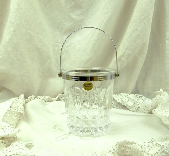 Vintage 1960s French Mid Century Lead Crystal Cristal d'Arques Ice Bucket, 60s Ice Cube Holder from France, Retro European Clear Barware