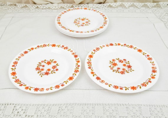 2 Matching Vintage French White Milk Glass Arc by Arcopal Retro Mid Century 1970s Dessert Plates with Orange Flower Pattern from France