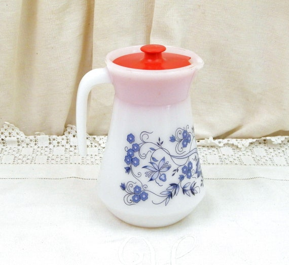 Vintage 1960s White Milk Glass with Blue Flower Pattern Pitcher with Red Lid from France, Retro French Midcentury 60s Arcopal Jug